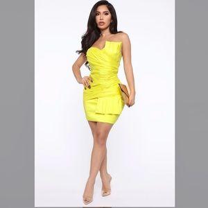Fashion Nova Need Some Girl Time Mini Yellow Dress